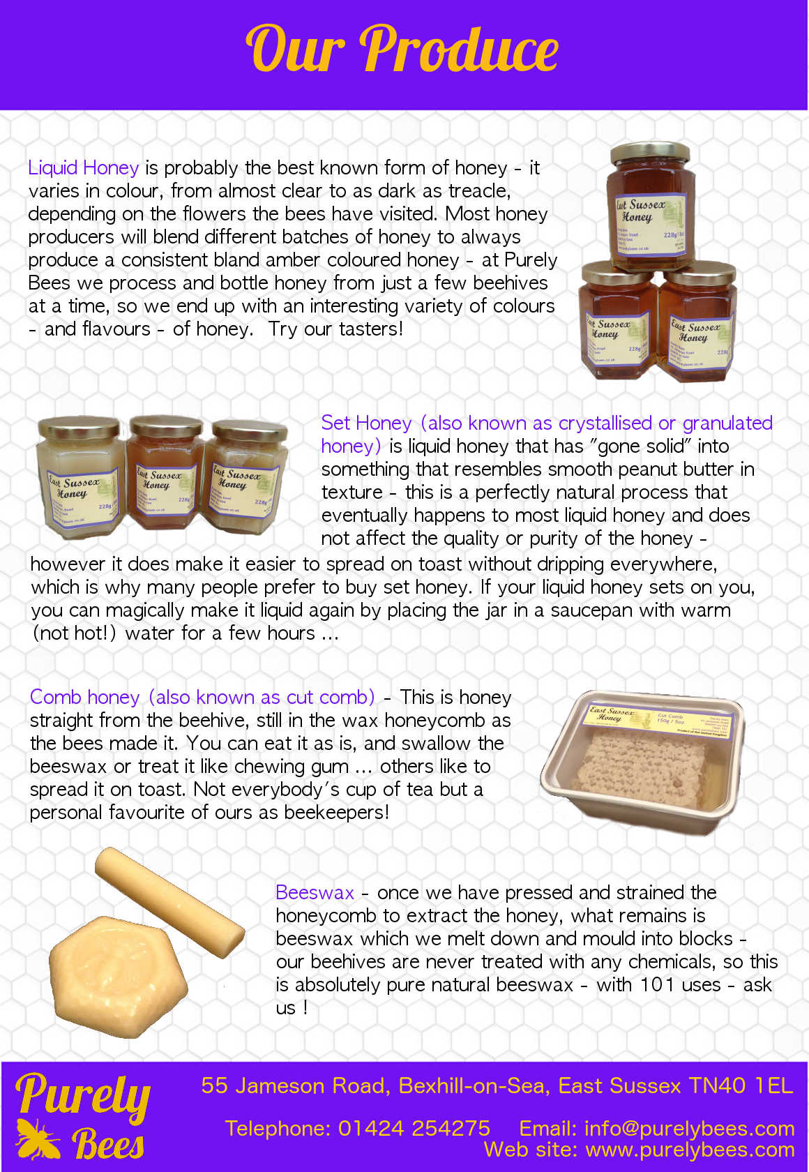 Purely Bees flyer page 2